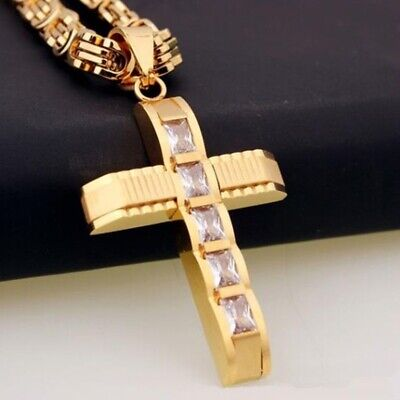 Silver Gold Plated Stainless Steel Cross Pendant Byzantine Chain Men's Necklace