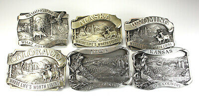 Belt Buckle Lot Six Siskiyou State Commemorative Buckles Pewter Free Shipping