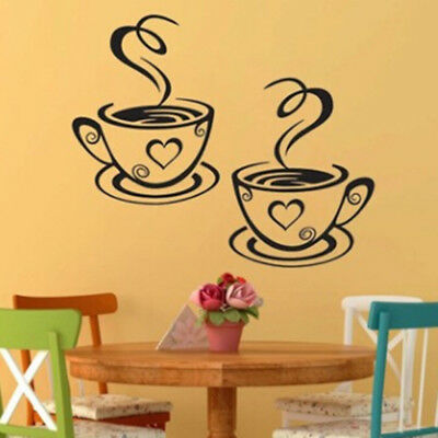 Wall Stickers Coffee Cafe Tea Cups Restaurant Home Kitchen Decal Decoration W
