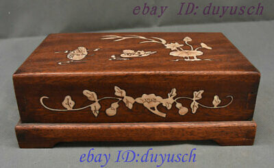 "10"" Old Chinese Huanghuali Wood Inlay conch handcrafted storage Box casket Boxes"