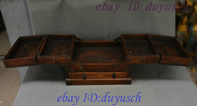 Old Chinese Huanghuali Wood handcrafted retractable storage Box casket Boxes