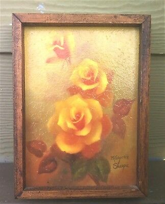 Original Signed MARJORIE SHARPE Yellow Roses Signed Oil Painting. Small Size.