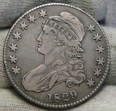 1829 Capped Bust Half Dollar - 50 Cents, Nice Coin, Free Shipping  (8361)