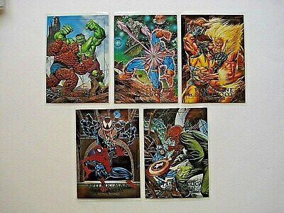 1992 Skybox Marvel Masterpieces Series 1 *Dyna Etch Battles*  5 Card Chase Set