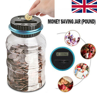 Digital Coin Counter Bank Savings Jar Box Automatic Counting Euro/Dollar/Pound