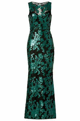 c01e21ccbb527 Badgley Mischka Black Green Women's Size 16 Sequin Mesh Gown Dress $695-  #171