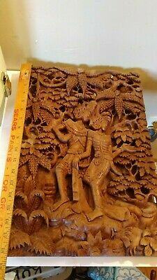 Intricate 3 Dimensional Wood Carving Asian Oriental Beautiful Example 12 X 18 In