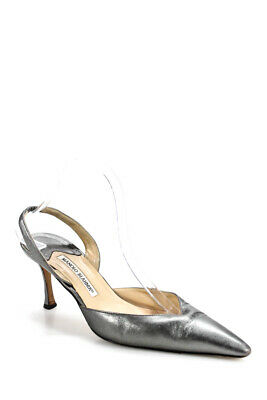 344b855b154bb Manolo Blahnik Womens Slingback Pumps Carolyne Silver Leather Size 40.5 10.5