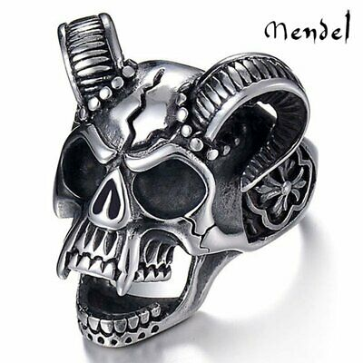MENDEL Mens Gothic Biker Devil Horned Skull Demon Ring Stainless Steel Size 8-13
