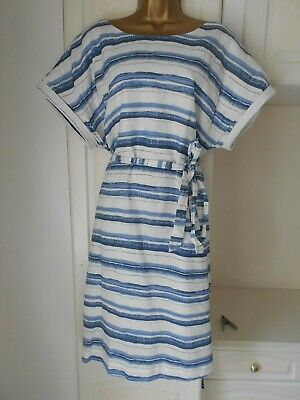 Smart Lined 100% Linen Dress By Laura Ashley In Vg Con Size Uk 16 Bust 44""