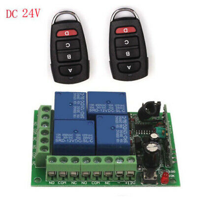 Nice 24V 4CH Channel 433Mhz Wireless Remote Control Switch + 2-pack Transmitter