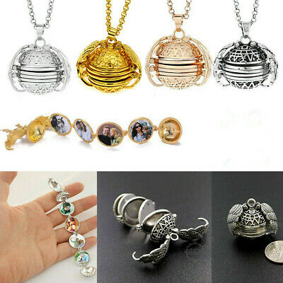 Expanding 5 Photos Locket Necklace Silver Ball Angel Wing Pendant Memorial Gifts