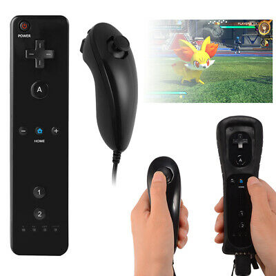 Game Remote And Nunchuck Controller Black Set Combo for Nintendo Wii AC443