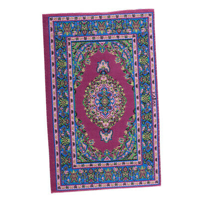 1/12 Dollhouse Mini Rug Turkish Style Carpet Floor Covering Area Rugs Purple