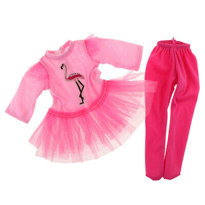 Fashion Pink Long Sleeve Top Skirt Pants for 18inch American Doll Accessory