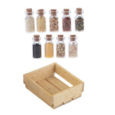 1/12 Dolls House Mini Wooden Tray Dried Food Glass Jars Kitchen Shop Accs