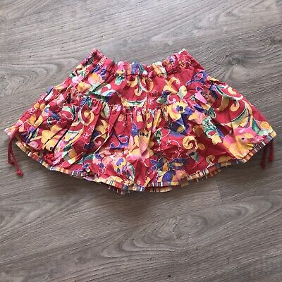 Vtg Kids Children's 80s 90s Oilily Floral Kitsch Classic Retro Skirt Red 2-4 Y