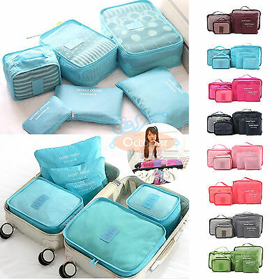 6PC/Set Luggage Clothing Travel Storage Bags Pack Cube Organizer Waterproof