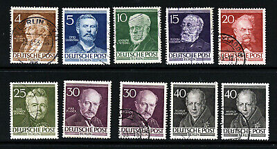 GERMANY WEST BERLIN 1952 Famous Berliners Set Almost Complete SG B91 to B100 VFU