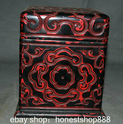 "8"" Qianlong Marked Old China Red lacquerware Dynasty jewelry Box cabinet casket"