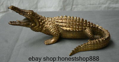 "10"" Chinese Brass Succes Cruel Carvings Crocodile Cayman Statue Sculpture"
