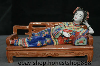 """10"""" Old Chinese Wucai Porcelain Dynasty Palace Sleep Beautiful Woman Bed Statue"""
