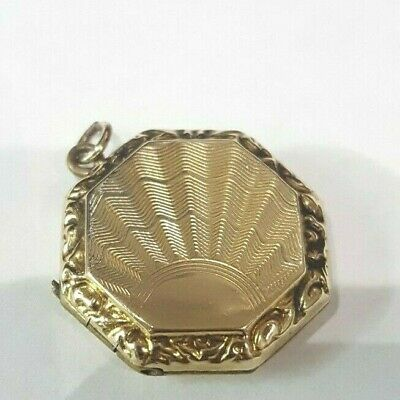 Antique Victorian Etched 9k Yellow Gold Oval Shaped Locket