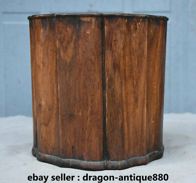 """7.8"""" Old Chinese Huanghuali Wood Carving Bamboo Striation Brush Pot Pencil Vase"""