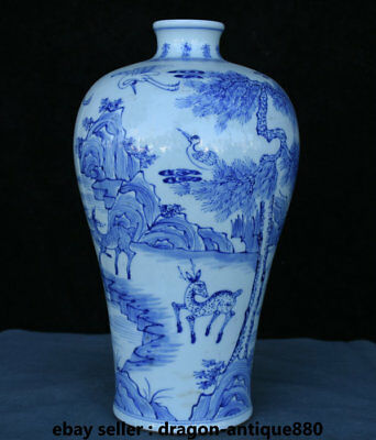 "14"" Old Marked Chinese Blue White Porcelain Pine Tree Animal Crane Deer Vase Pot"