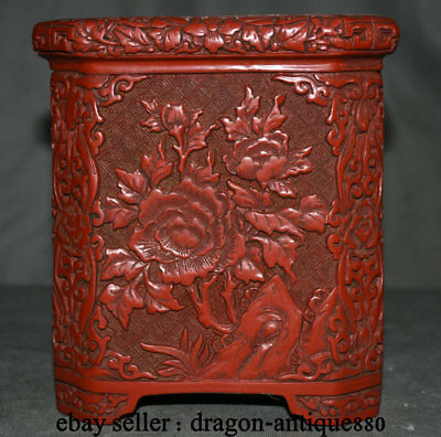"""7"""" Old Chinese Palace Red lacquerware Carved Peony Flower Brush Pot pencil vase"""