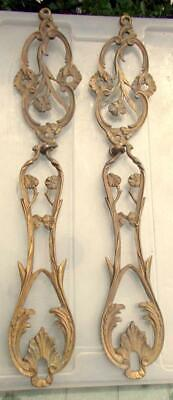 Pair French Solid Bronze Art Nouveau Furniture / Light Embellishments Fittings