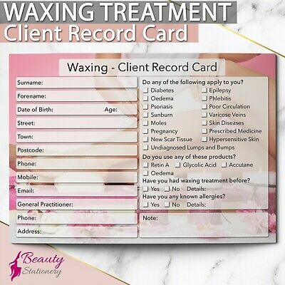 Waxing Client Record Card NEW - PREMIUM Treatment Consultation Beauty Salons A6