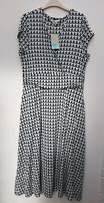 d7012b6c313 BODEN Lily Jersey Dress J0210 UK 20 R EU 46 US 16 Ice Grey Retro Spot