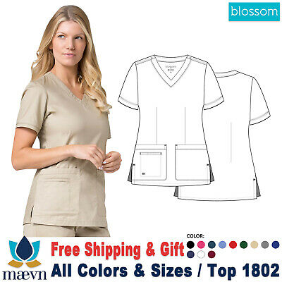 56519c2f48a Maevn Scrubs BLOSSOM Women's Two Lower Pockets Fashion Curved V-Neck Top  1802