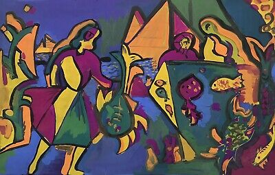 1950's FRENCH MODERNIST VERY LARGE PAINTING - COLOURFUL FIGURES - FISH PYRAMIDS