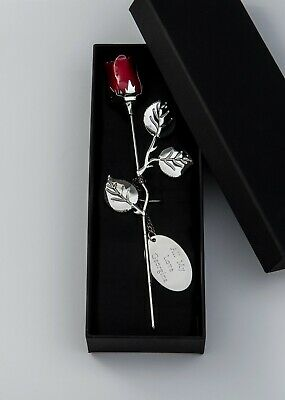 Silver Plated Personalised Engraved Red Rose Wedding Birthday Anniversary Gift