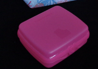 Tupperware Sandwich Keeper Pink Hinged Lid Great for Crayons & Toys New