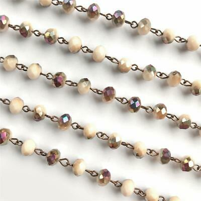 Brown Cream Crystal Glass Beaded Rosary Antique Copper Eyepin Chain 8mm 2ft