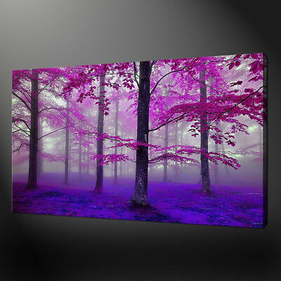 DV_ KE_ Purple Forest Canvas Painting Poster Wall Picture Living Room Decor Exqu