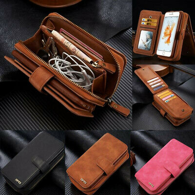 Removable Luxury Leather Zipper Wallet Flip Card Case Cover For iPhone XS Max XR