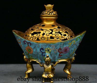 "7"" Xuande Marked Old Chinese Bronze Gild Cloisonne Four People Yuanbao Censer"