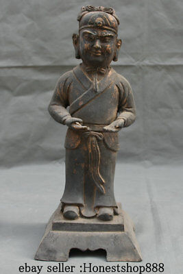 "12.4"" Old Chinese Bronze Folk Palace Dynasty Stand Civil Official Sculpture"