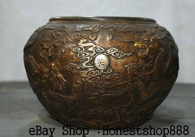 """9"""" Qianlong Marked Chinese Old Bronze Silver Two Dragon play Bead Pot Jar Crock"""