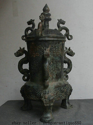 "21"" Old Chinese Bronze Ware Striation Dragon Beast Handle 3 Legs Drinking Vessel"