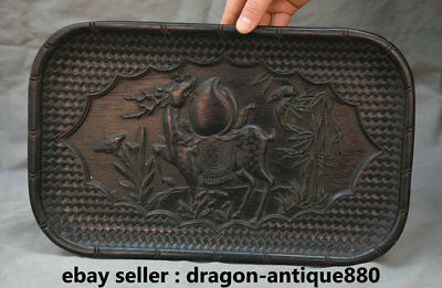 "14.2"" Old Chinese Ebony Carving Palace Deer Peach Bat Bamboo Plate Dish Tray"