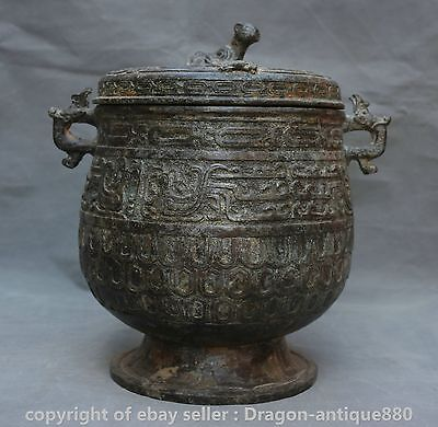 "11"" Old Chinese Bronze Ware Dynasty Palace Dragon Handle Phoenix Beast Vessel"