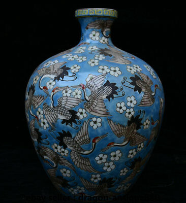"13"" Kangxi Marked Old Famille Rose Porcelain Crane Cranes Bird Pot Bottle Vase"