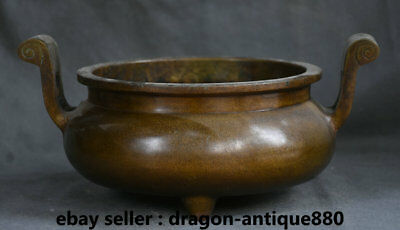 "10.4"" Marked Old Chines Bronze Dynasty Double Handle incense burner Censer"
