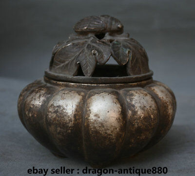"""4.4"""" lection Marked Old China Silver Dynasty Palace cicada Leaf Incense Burners"""