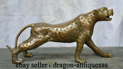 "10.4"" Old Chinese Copper Bronze Feng Shui Animal Leopard Panther Cheetah Statue"